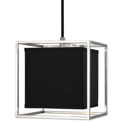 Uttermost Grafton Pendant Lamp in Brushed Nickel with Black Shade