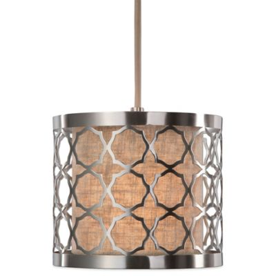 Uttermost Harwich Mini Pendant Lamp in Brushed Nickel with Linen Shade