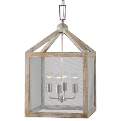 Uttermost Nashua 4-Light Wooden Lantern Pendant with Polished Nickel Accents