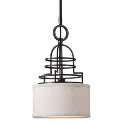 Uttermost Cupola Mini Drum Pendant Lamp in Weathered Bronze with Linen Shade