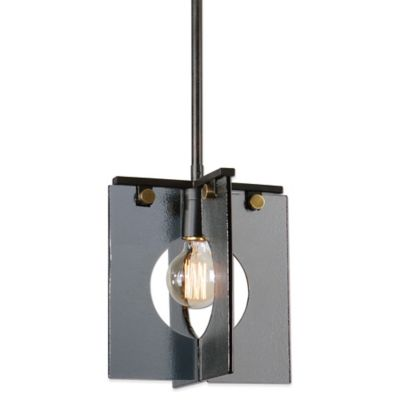 Uttermost Vitrum Mini Pendant Lamp in Coffee Bronze with Smoke Glass Shade
