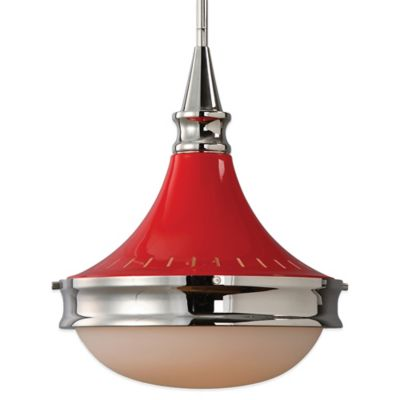 Uttermost Cherry Pendant Lamp in Polished Nickel with Opal Glass Shade