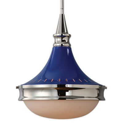 Uttermost Blueberry Pendant Lamp in Polished Nickel with Opal Glass Shade