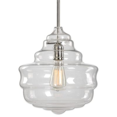 Uttermost Bristol Pendant Lamp in Polished Nickel with Beehive Glass Shade