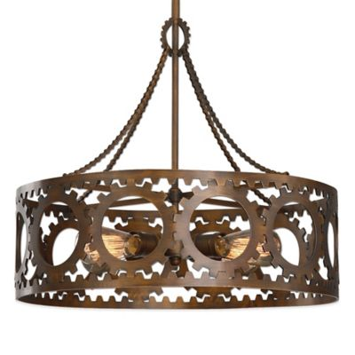 Uttermost Antrim 4-Light Drum Pendant Lamp in Heritage Bronze
