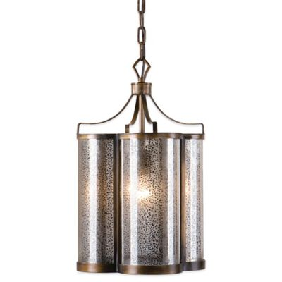 Uttermost Croydon Pendant Lamp in Golden Oil Rubbed Bronze with Antiqued Mercury Glass Shade