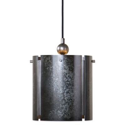 Uttermost Norton 1-Light Mini Pendant Lamp in Smoky Galvanized Metal