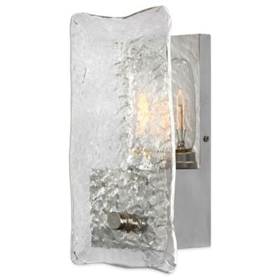 Uttermost Cheminee Wall Sconce in Brushed Steel with Textured Glass
