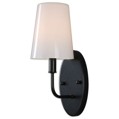 Uttermost Articulo Black Iron Wall Sconce with Milk Glass Shade