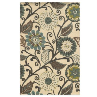 Rizzy Home Eden Harbor Flowers 3-Foot x 5-Foot Area Rug in Ivory