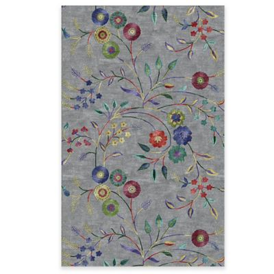 Rizzy Home Eden Harbor Big Floral 3-Foot x 5-Foot Area Rug in Grey
