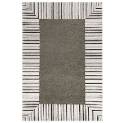 Trans-Ocean Ravella Pin Stripe Border 5-Foot x 7-Foot 6-Inch Indoor/Outdoor Rug in Grey