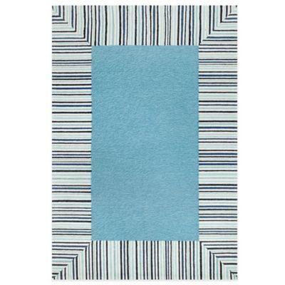 Trans-Ocean Ravella Pin Stripe Border 7-Foot 6-Inch x 9-Foot 6-Inch Indoor/Outdoor Rug in Blue