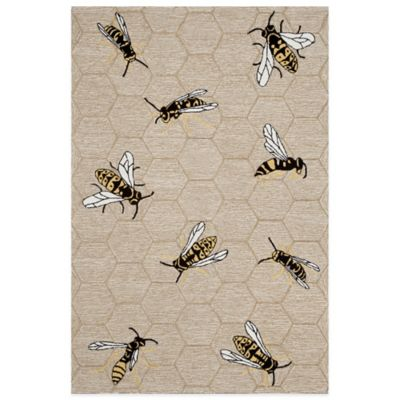Trans-Ocean Honey Bee 5-Foot x 7-Foot Indoor/Outdoor Area Rug in Beige