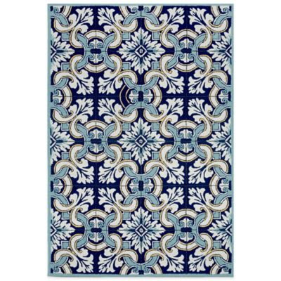 Trans-Ocean Ravella Floral Tile 3-Foot 6-Inch x 5-Foot 6-Inch Indoor/Outdoor Rug in Blue