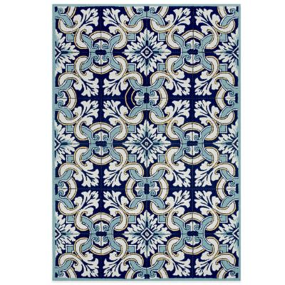 Trans-Ocean Ravella Floral Tile 7-Foot 6-Inch x 9-Foot 6-Inch Indoor/Outdoor Rug in Blue