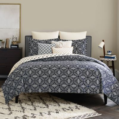 Real Simple® Luna Reversible Full/Queen Duvet Cover in Navy/Multi