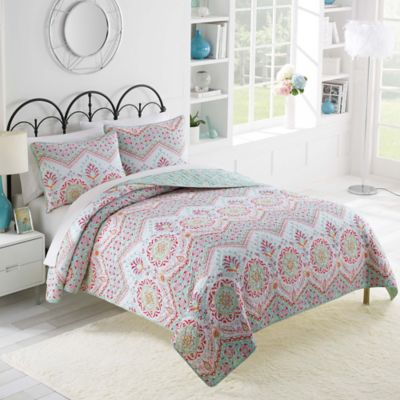 Vue Lila Twin XL Reversible Quilt Set in Plum