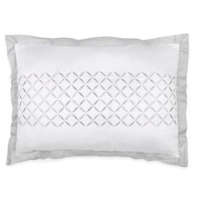Wamsutta® Collection Luxury Italian-Made Lucca Oblong Throw Pillow in White/Grey