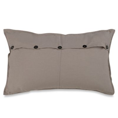 Kenneth Cole Reaction Home Structure Mineral Button Oblong Throw Pillow in Silver