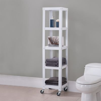 Flat Metal 5-Shelf Rolling Tower in White