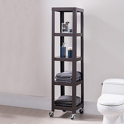 Buy Flat Metal 5 Shelf Rolling Tower In White From Bed Bath Beyond