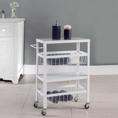 Flat Metal 4-Tier Rolling Storage Cart in White