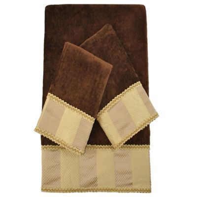 Austin Horn Classics Genevieve Stripe Embellished Bath Towels in Brown (Set of 3)