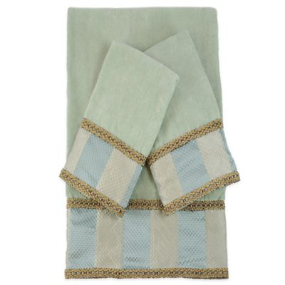Striped Embellished Bath Towels