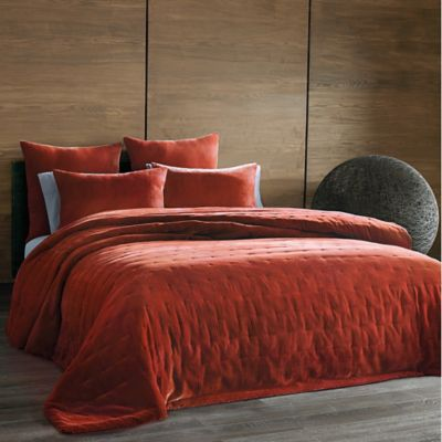 The Tallulah Collection by Kevin O'Brien Cirrus King Coverlet in Burnt Orange