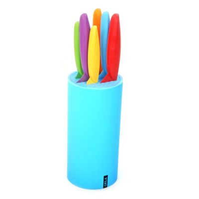 Gela 7-Piece Nonstick Coated Colored Knives with Blue Block Set