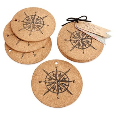 Kate Aspen® Let the Journey Begin Cork Coasters (Set of 4)