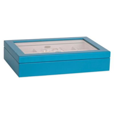Mele & Co. Cassidy Glass Wooden Jewelry Box in Blue
