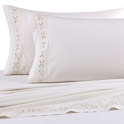 Beekman 1802 Stillwater Queen Fitted Sheet in Cream