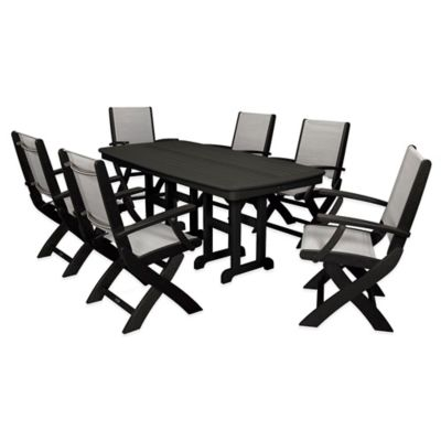POLYWOOD® Coastal 7-Piece Outdoor Dining Set in Grey/White