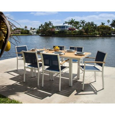 POLYWOOD® Bayline™ 7-Piece Outdoor Dining Set in White/Navy