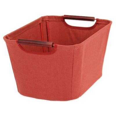 Household Essentials® Small Open Tapered Bin with Wood Handles in Red