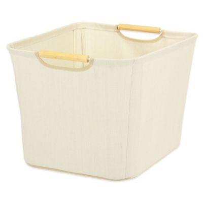 Household Essentials® Medium Open Tapered Storage Bin with Wood Handles in Ivory