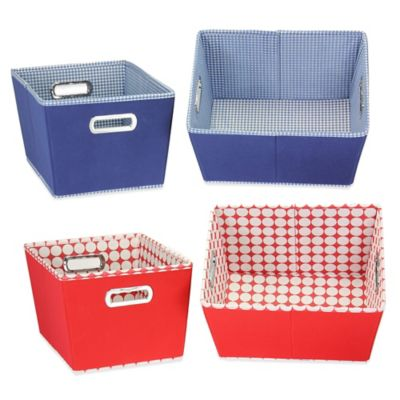 Household Essentials® Small Fabric 2-Toned Tapered Bins in Navy (Set of 2)