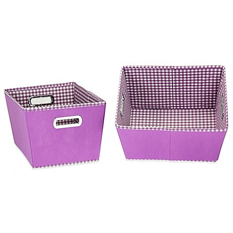 Buy household essentials small fabric 2 toned tapered for Purple bathroom bin
