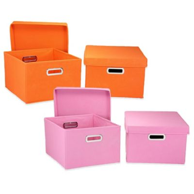 Household Essentials® Collapsible Storage Boxes in Orange (Set of 2)