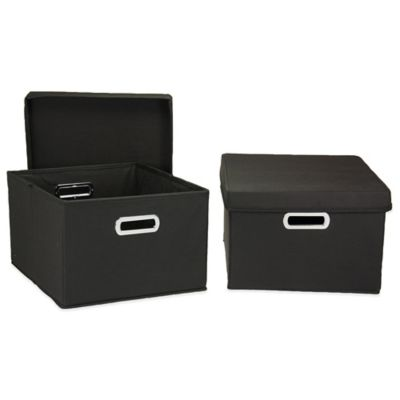 Household Essentials® Collapsible Storage Boxes in Black (Set of 2)