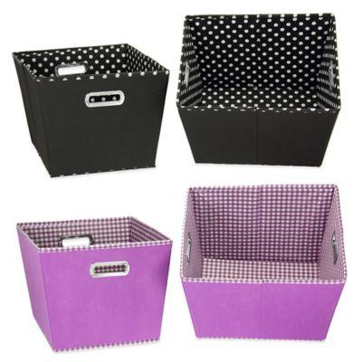 Household Essentials® Medium Fabric 2-Toned Tapered Bins in Black (Set of 2)