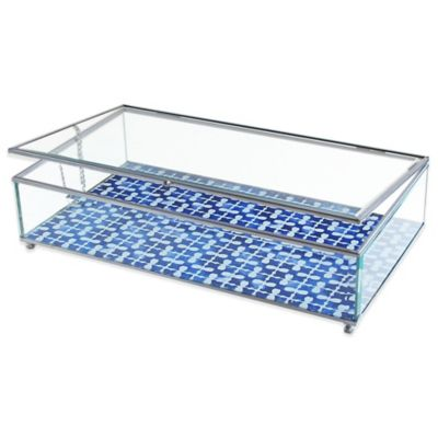 Allure by Jay Squares Print Glass Jewelry Display Box in Blue