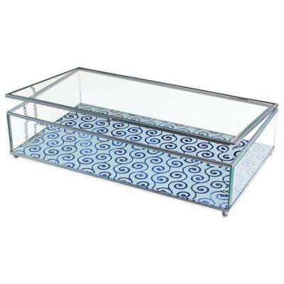 Allure by Jay Swirls Print Glass Jewelry Display Box in Blue