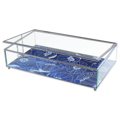 Allure by Jay Poppies Print Glass Jewelry Display Box in Blue