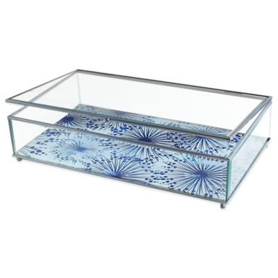 Allure by Jay Dandelions Print Glass Jewelry Display Box in Blue