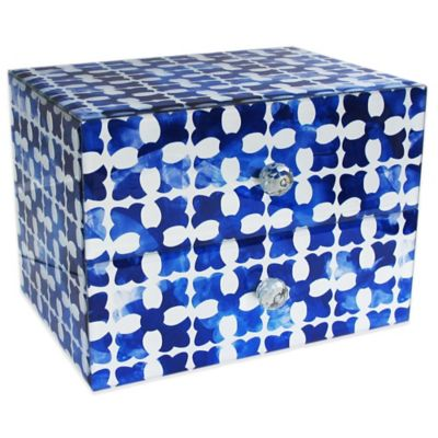Allure by Jay Medallion Squares 2-Drawer Glass Jewelry Box in Blue/White