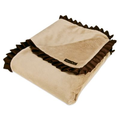 Trend Lab® Baby Barnyard Velour and Satin Receiving Blanket in Caramel/Brown
