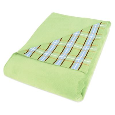 Trend Lab® Baby Barnyard Velour Receiving Blanket in Sage/Plaid